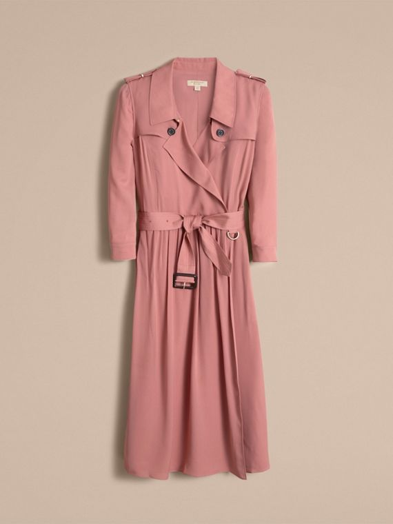 Silk Wrap Trench Dress in Light Copper Pink - cell image 3