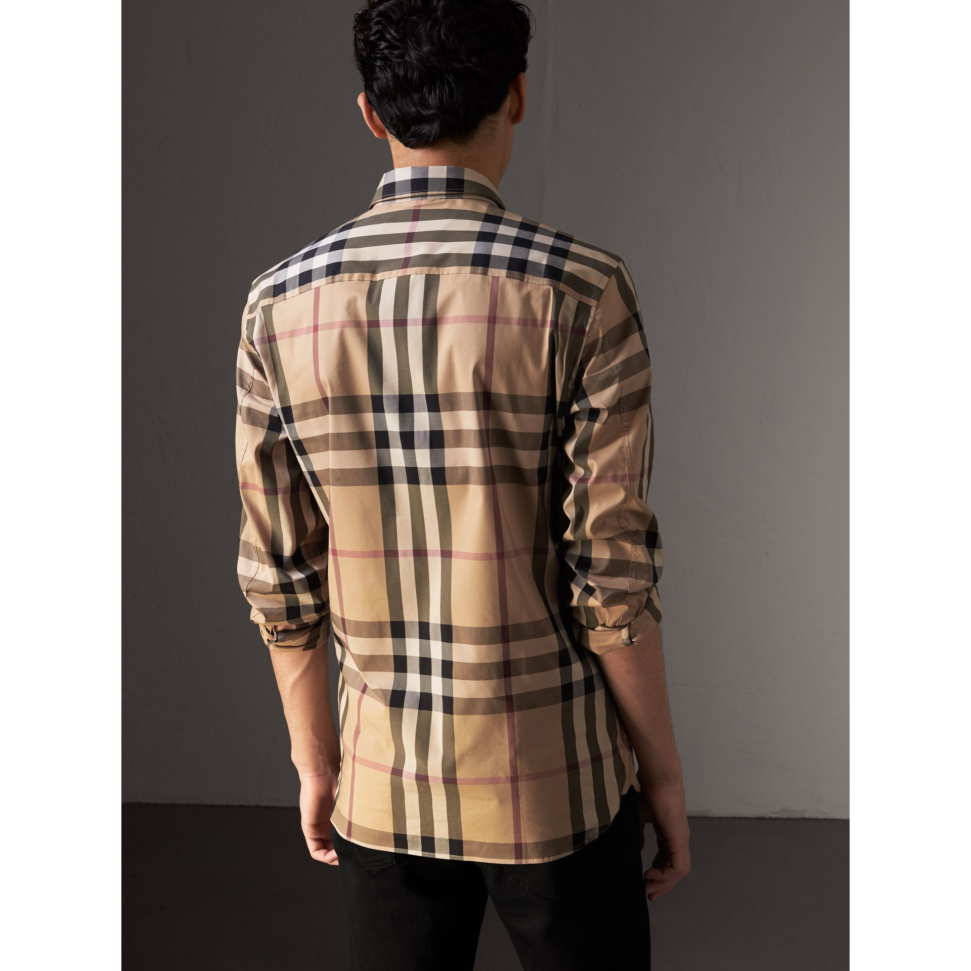 Check Stretch Cotton Shirt in Camel - Men | Burberry Singapore - gallery image 2