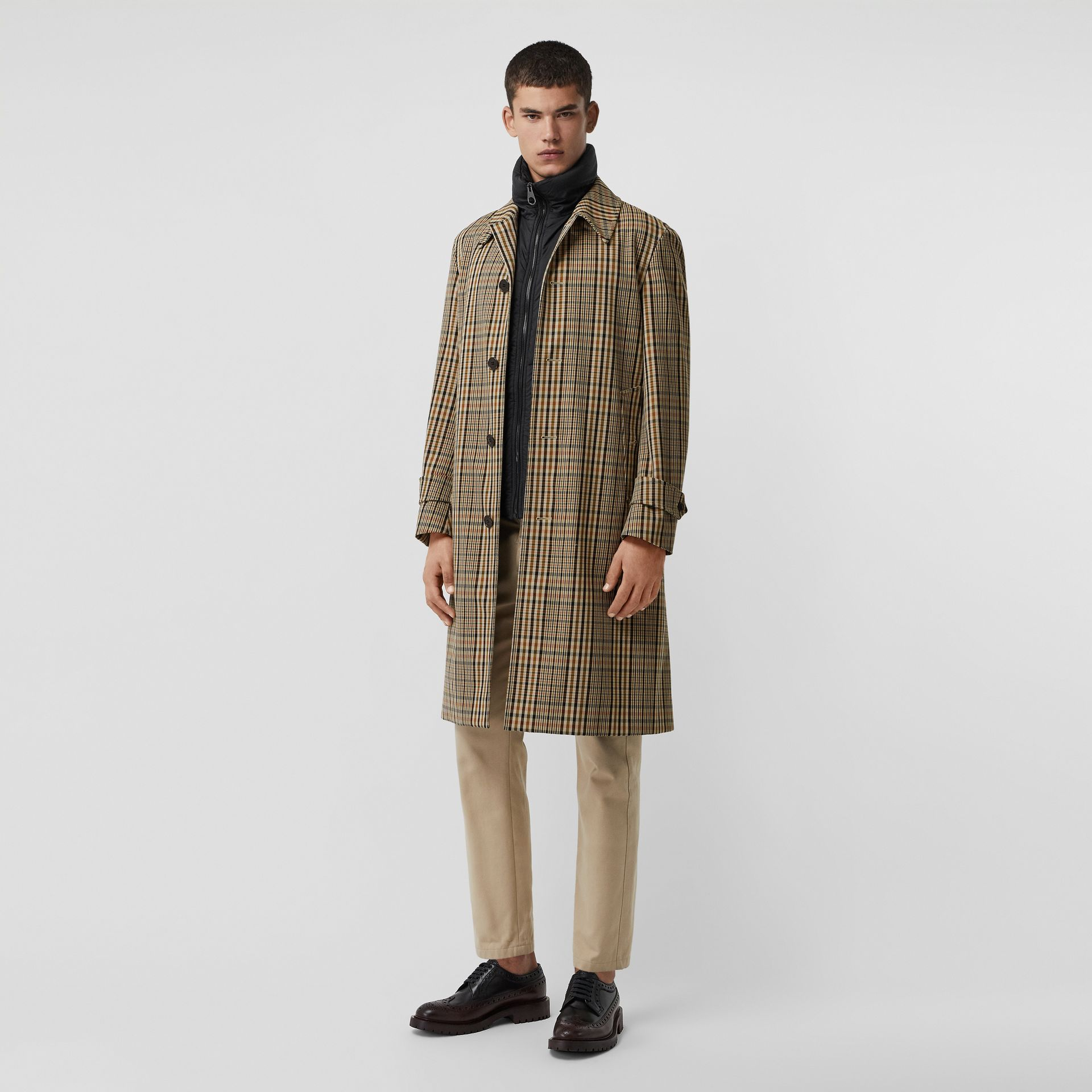 Check Car Coat with Detachable Gilet in Dark Camel - Men | Burberry - gallery image 0