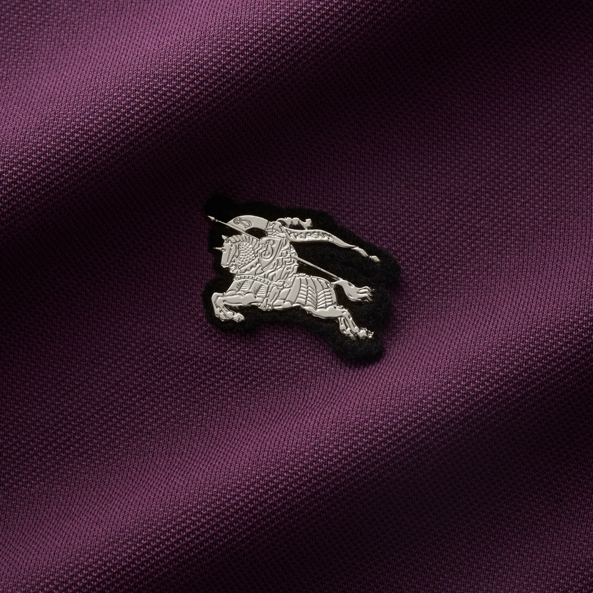 Cotton Piqué Polo Shirt in Heather - Men | Burberry - gallery image 2