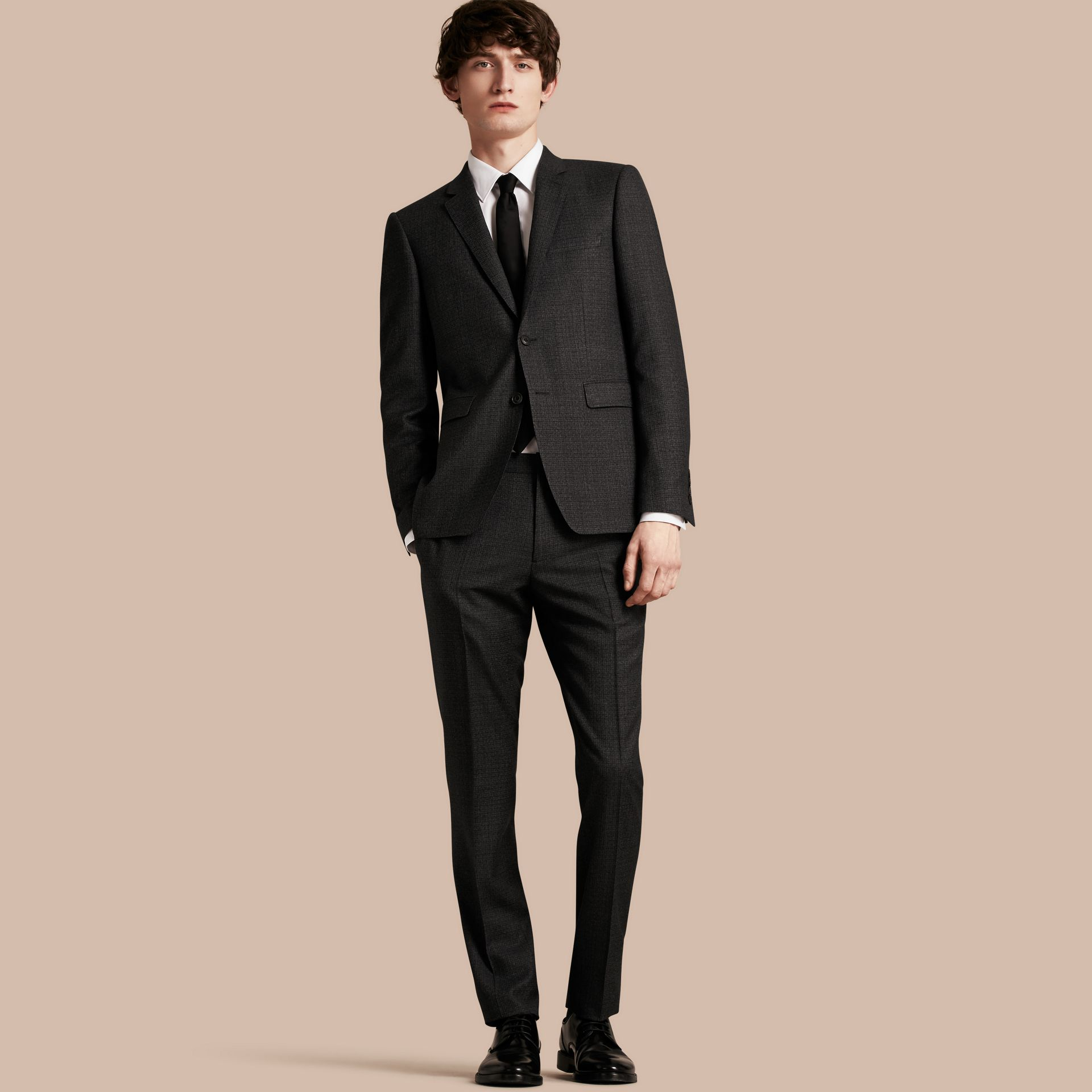 Dark grey melange Slim Fit Melange Wool Half-canvas Suit - gallery image 1