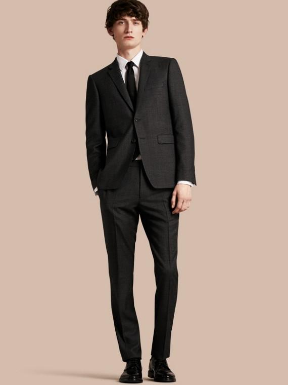 Körperbetonter Half-Canvas-Anzug aus melierter Wolle
