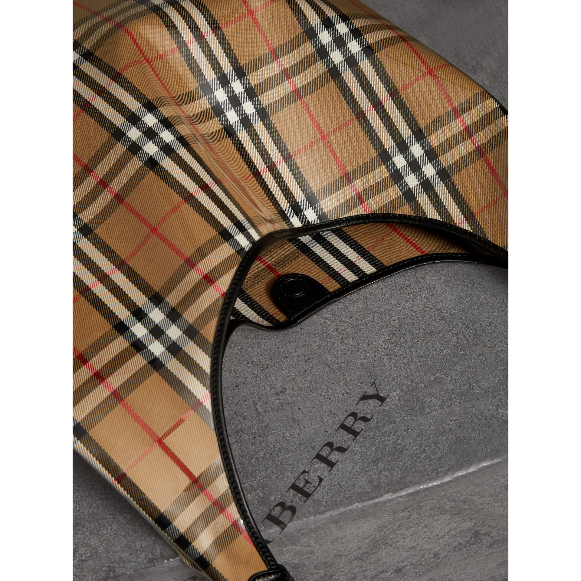 Medium Plastic Vintage Check and Leather Shopper in Antique Yellow/black - Women | Burberry Hong Kong - gallery image 5