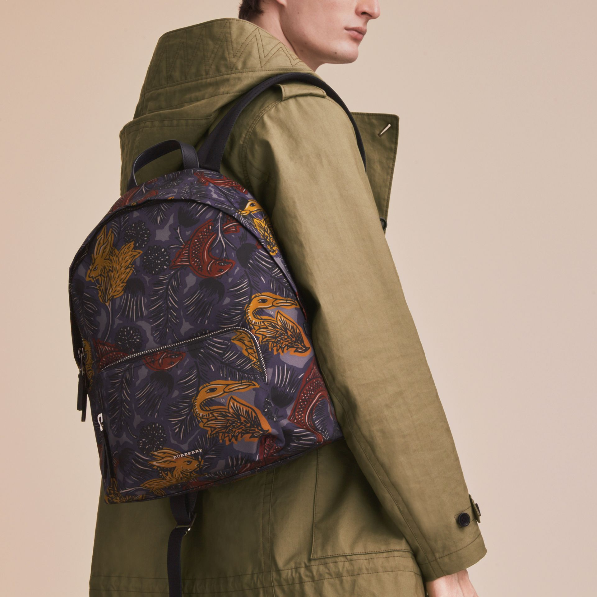 Leather Trim Beasts Print Backpack in Navy Grey - Men | Burberry - gallery image 3