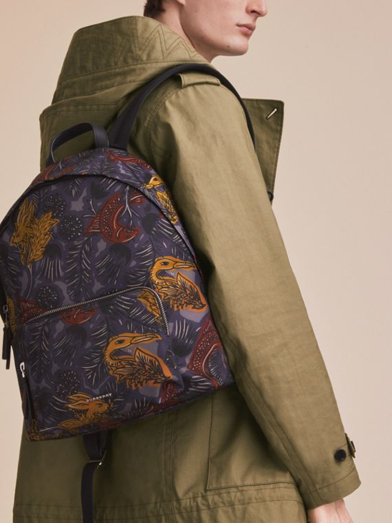 Leather Trim Beasts Print Backpack in Navy Grey - Men | Burberry - cell image 2