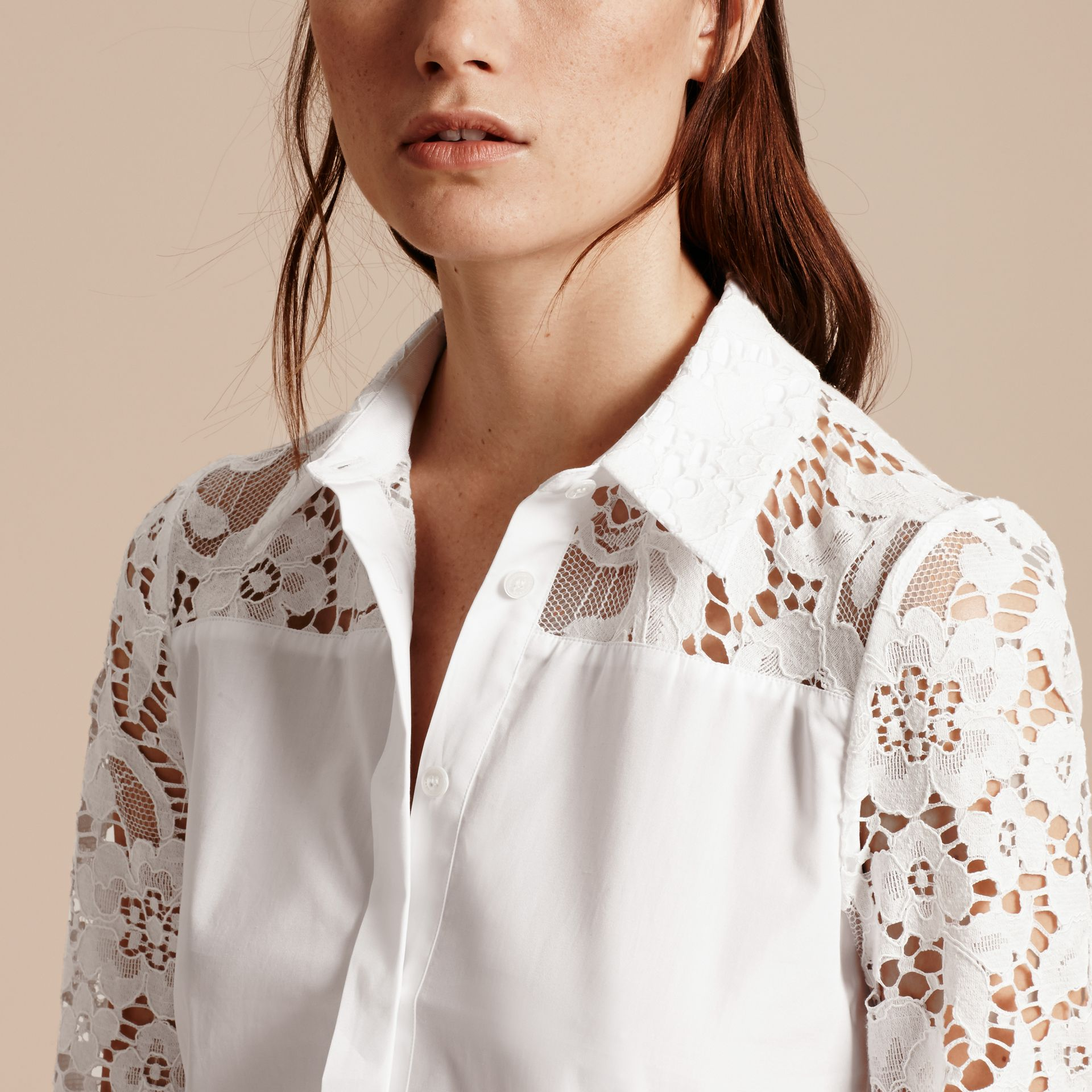 White Macramé Lace Detail Cotton Shirt - gallery image 5