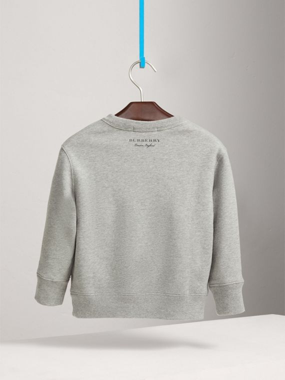 Creature Motif Cotton Jersey Sweatshirt in Grey Melange - Boy | Burberry Singapore - cell image 3