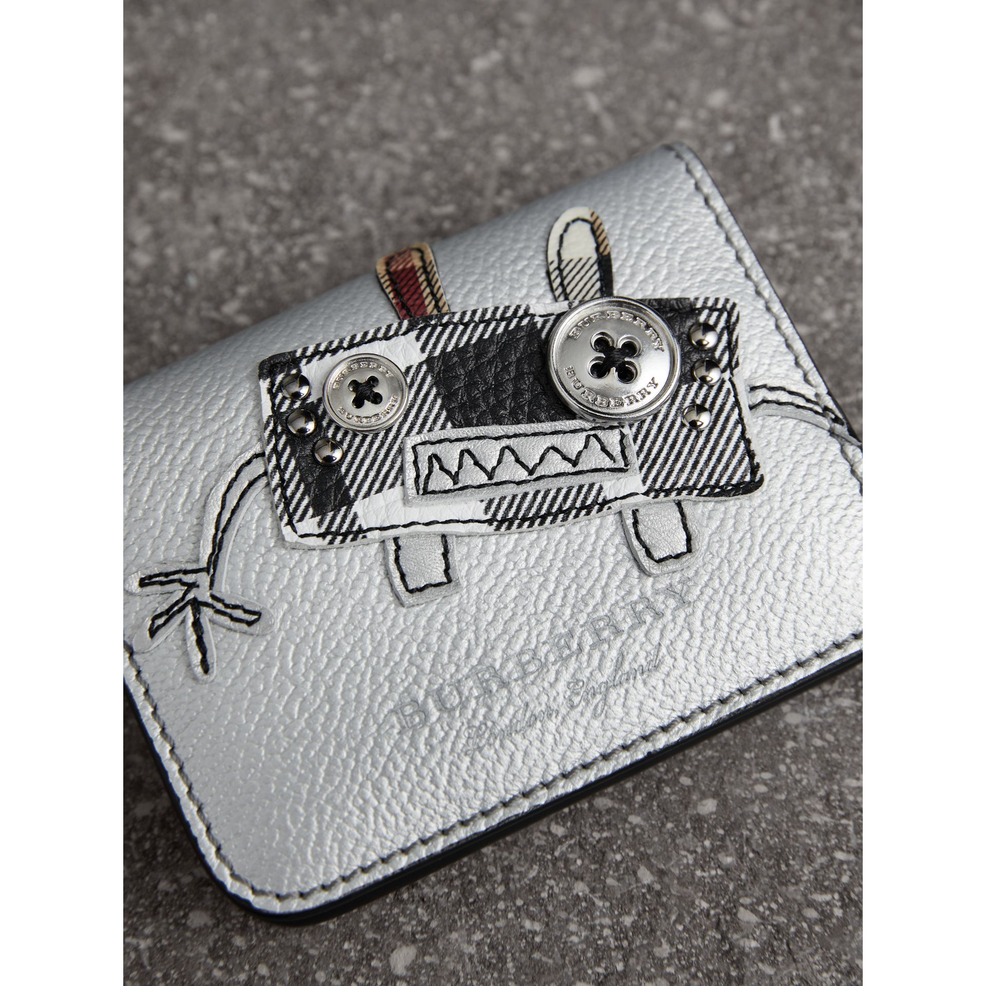 Creature Motif Metallic Leather ID Card Case Charm in Silver/multicolour - Women | Burberry - gallery image 1
