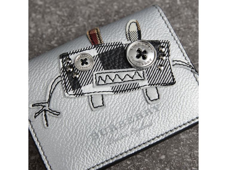 Creature Motif Metallic Leather ID Card Case Charm in Silver/multicolour - Women | Burberry - cell image 1