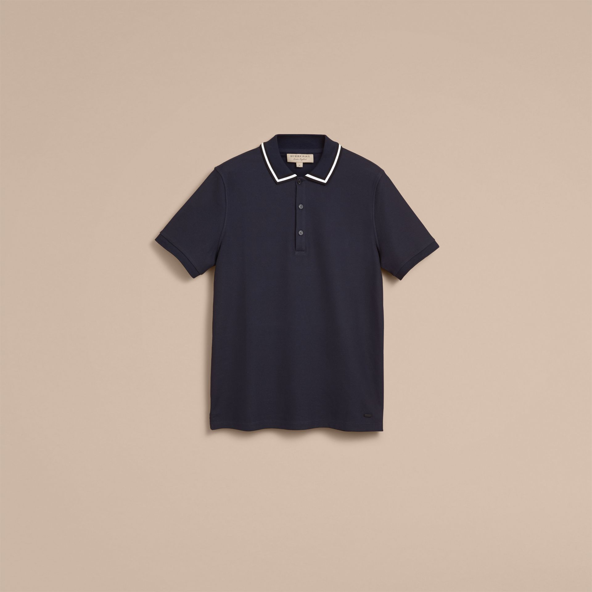 Striped Collar Cotton Piqué Polo Shirt in Navy - Men | Burberry - gallery image 4