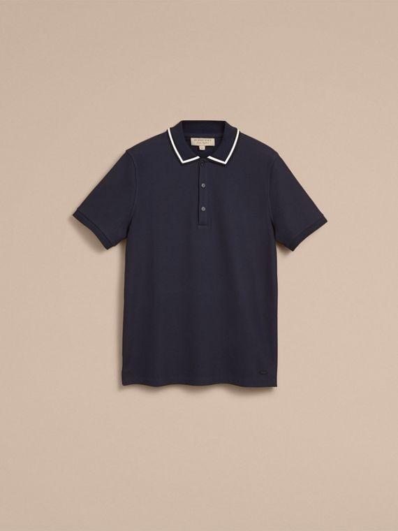 Striped Collar Cotton Piqué Polo Shirt in Navy - Men | Burberry - cell image 3