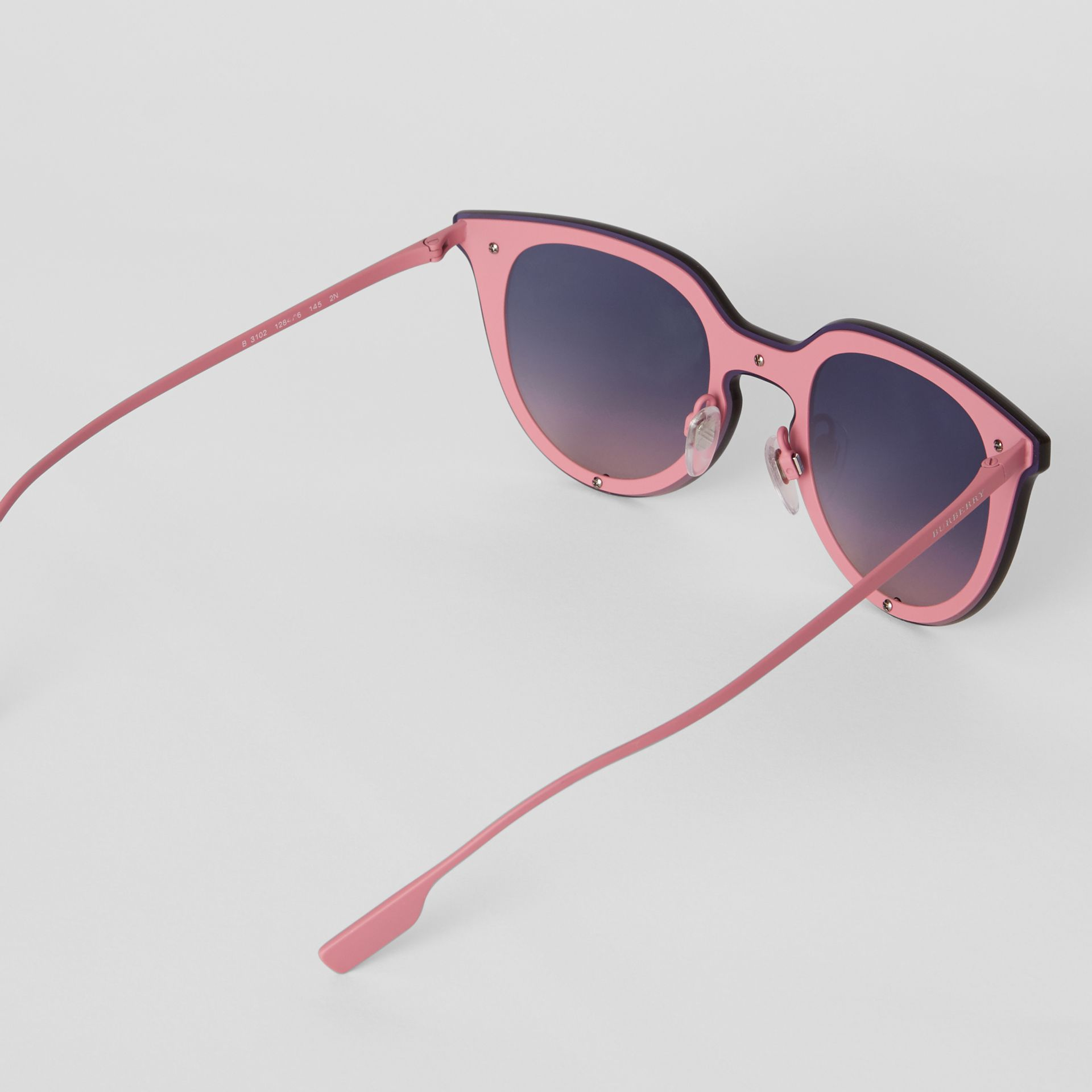 Keyhole Round Frame Shield Sunglasses in Pink - Women | Burberry - gallery image 4