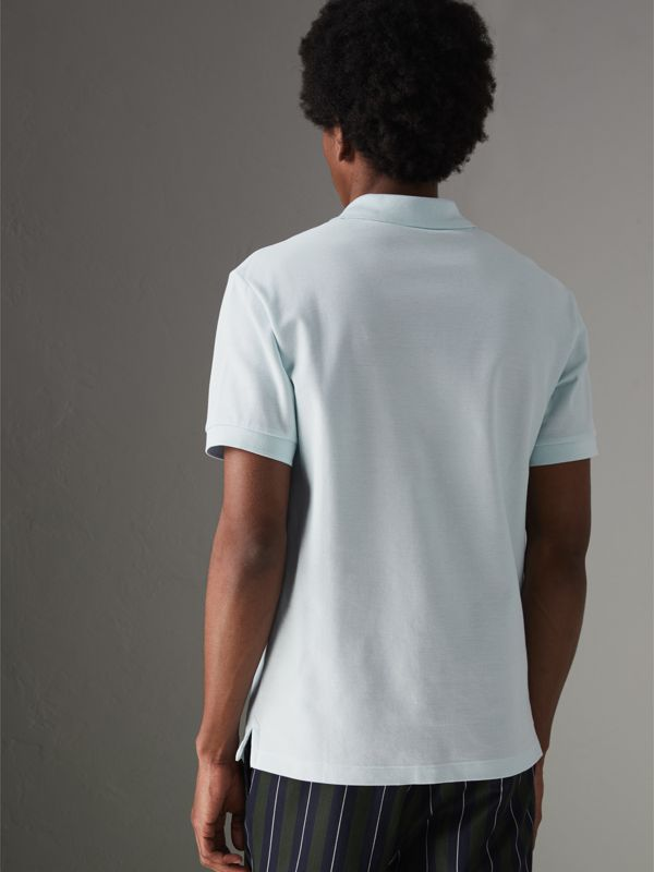 Triple Archive Logo Cotton Piqué Polo Shirt in Pearl Blue - Men | Burberry - cell image 2