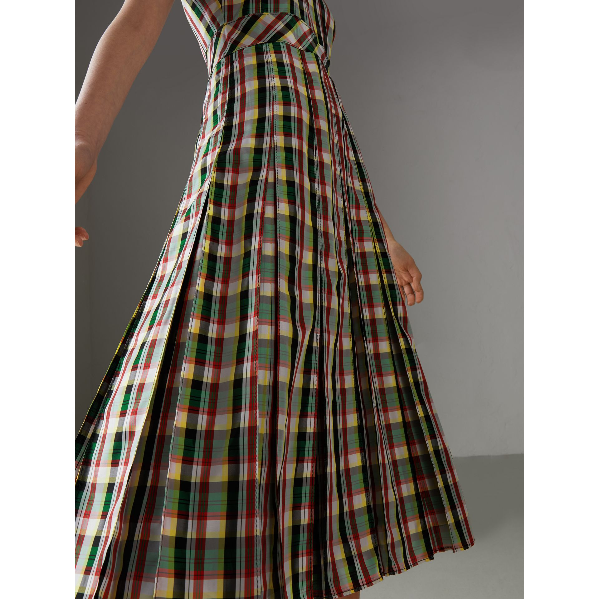 Sleeveless Pleat Detail Check Georgette Dress in Pine Green - Women | Burberry United Kingdom - gallery image 1