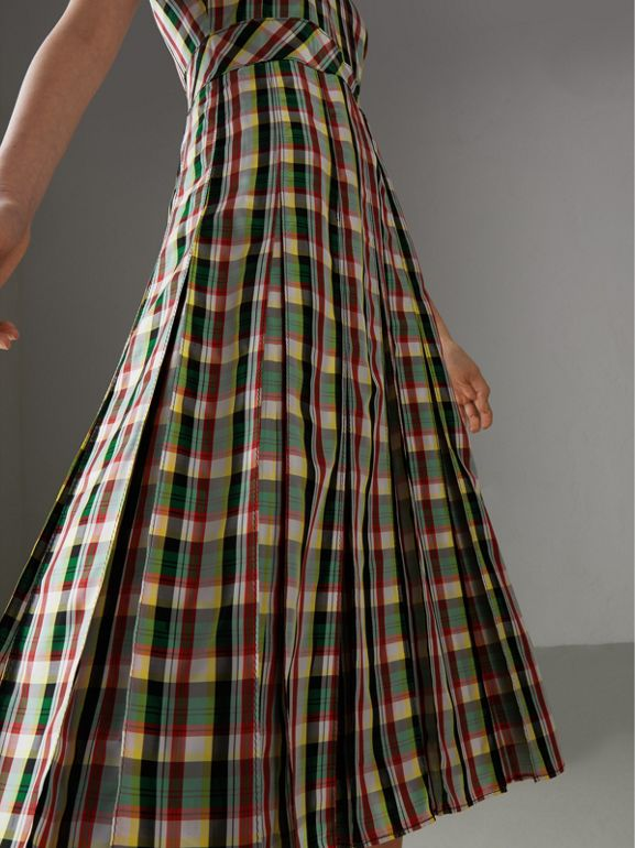 Sleeveless Pleat Detail Check Georgette Dress in Pine Green - Women | Burberry - cell image 1