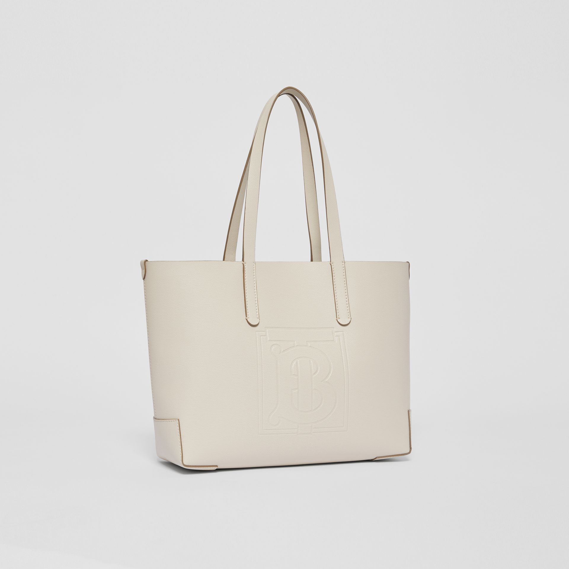 Embossed Monogram Motif Leather Tote in Limestone - Women | Burberry Australia - gallery image 6