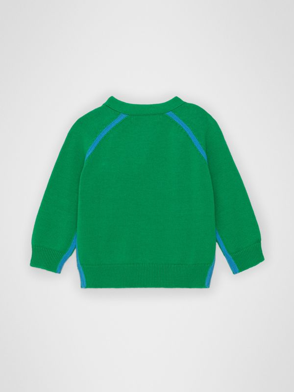Two-tone Cotton Knit Cardigan in Bright Emerald - Children | Burberry Australia - cell image 3