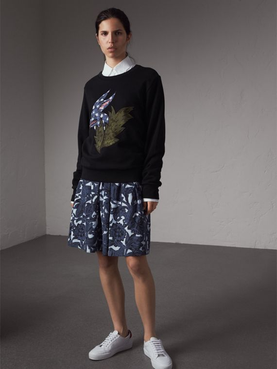 Beasts Motif Cotton Sweatshirt - Women | Burberry