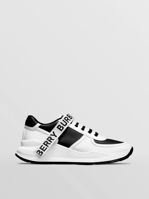 Zapatillas deportivas en nailon y piel con detalle de logotipo (Negro / Blanco Óptico)