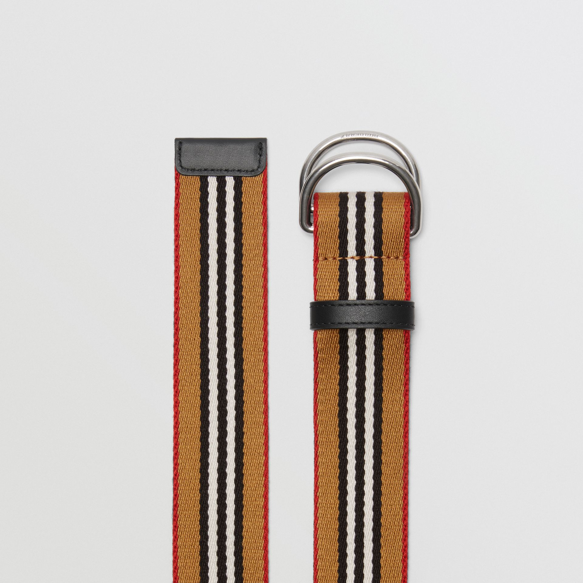 Heritage Stripe Double D-ring Belt in Vintage Check - Women | Burberry - gallery image 4