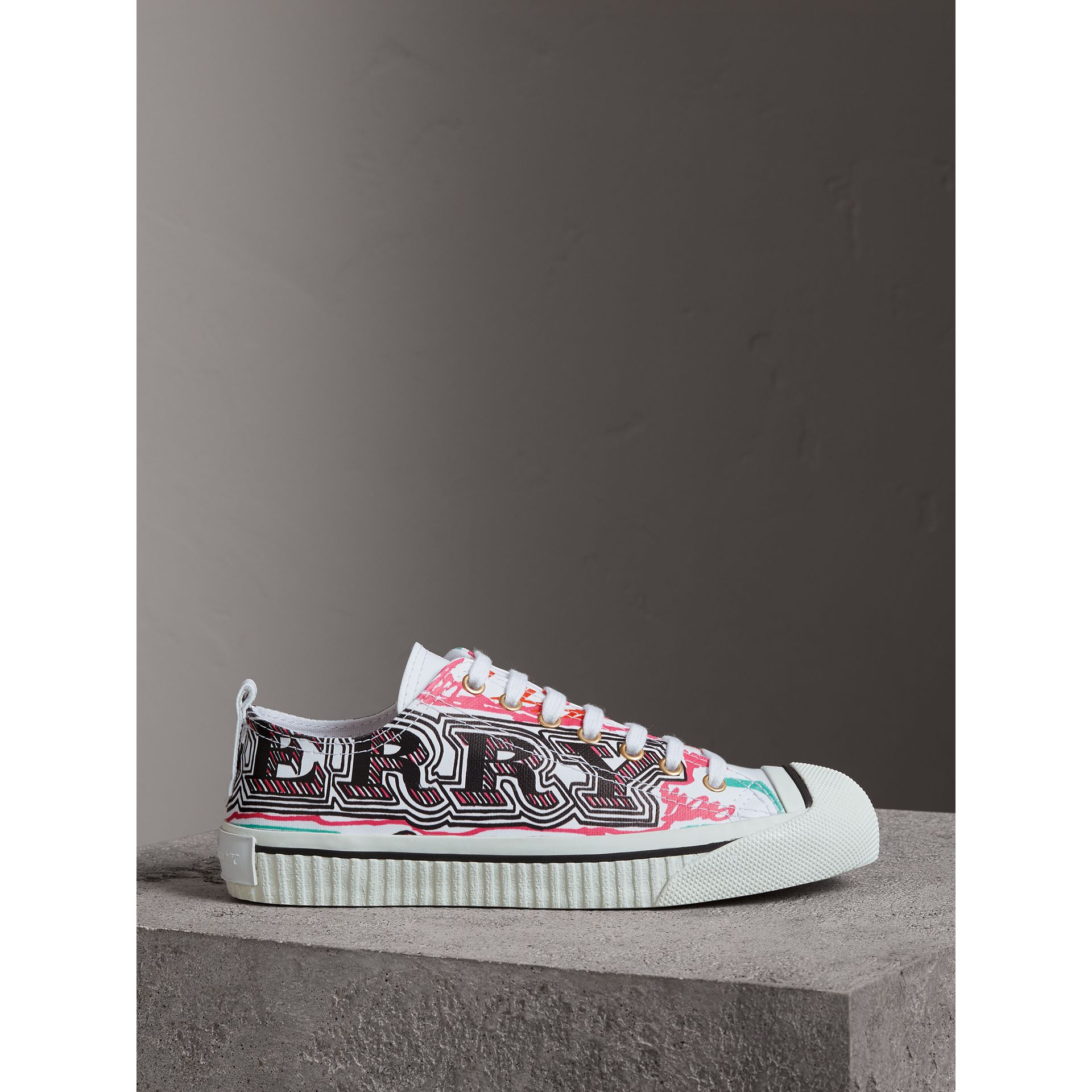 Doodle Print Coated Cotton Trainers in Optic White - Women | Burberry United Kingdom - gallery image 4