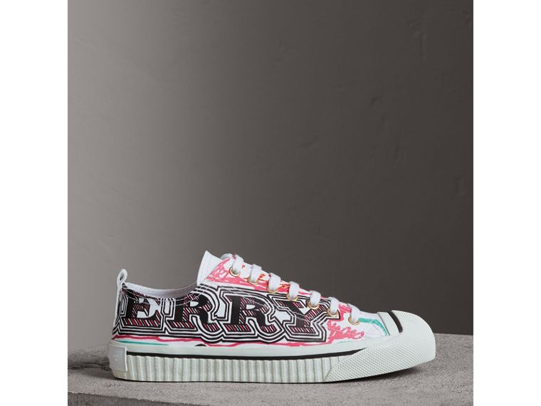 Doodle Print Coated Cotton Trainers in Optic White - Women | Burberry - cell image 4