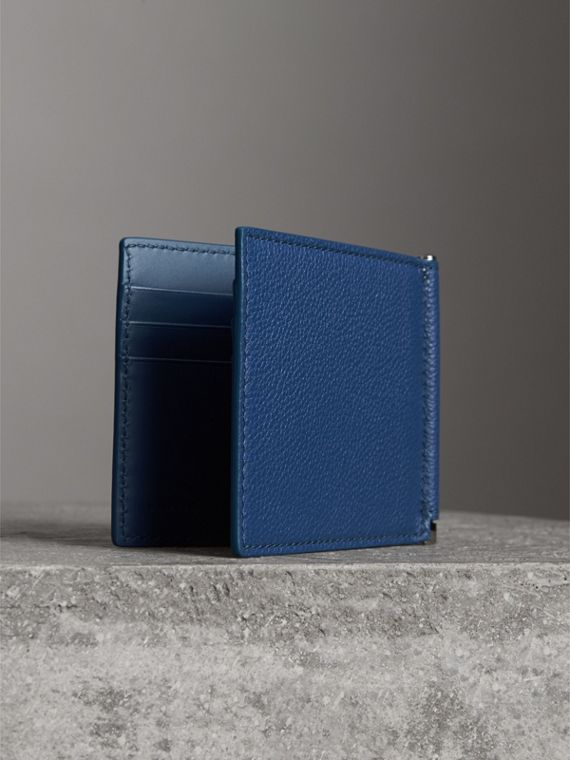Grainy Leather Money Clip Card Wallet in Bright Ultramarine - Men | Burberry - cell image 2