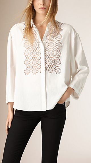 Lace Detail Oversize Cotton Linen Shirt
