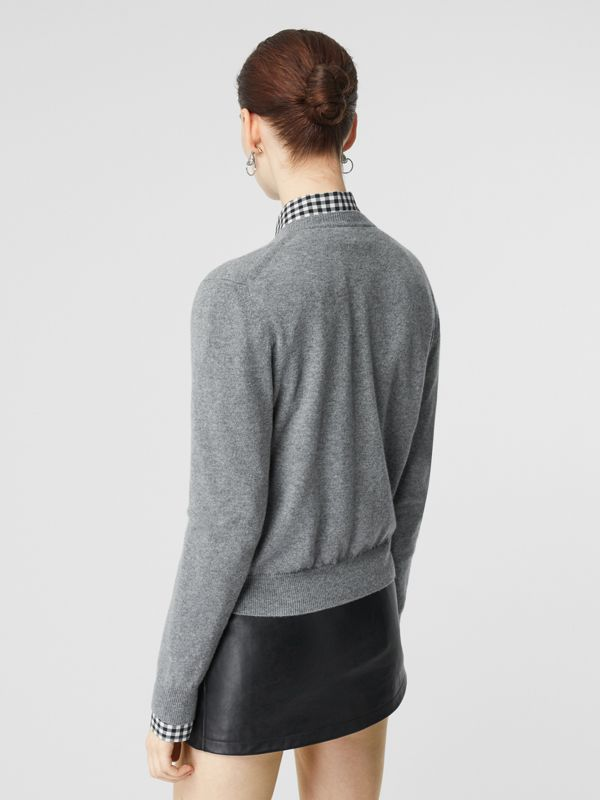 Logo Detail Cashmere Cardigan in Grey - Women | Burberry United States - cell image 2