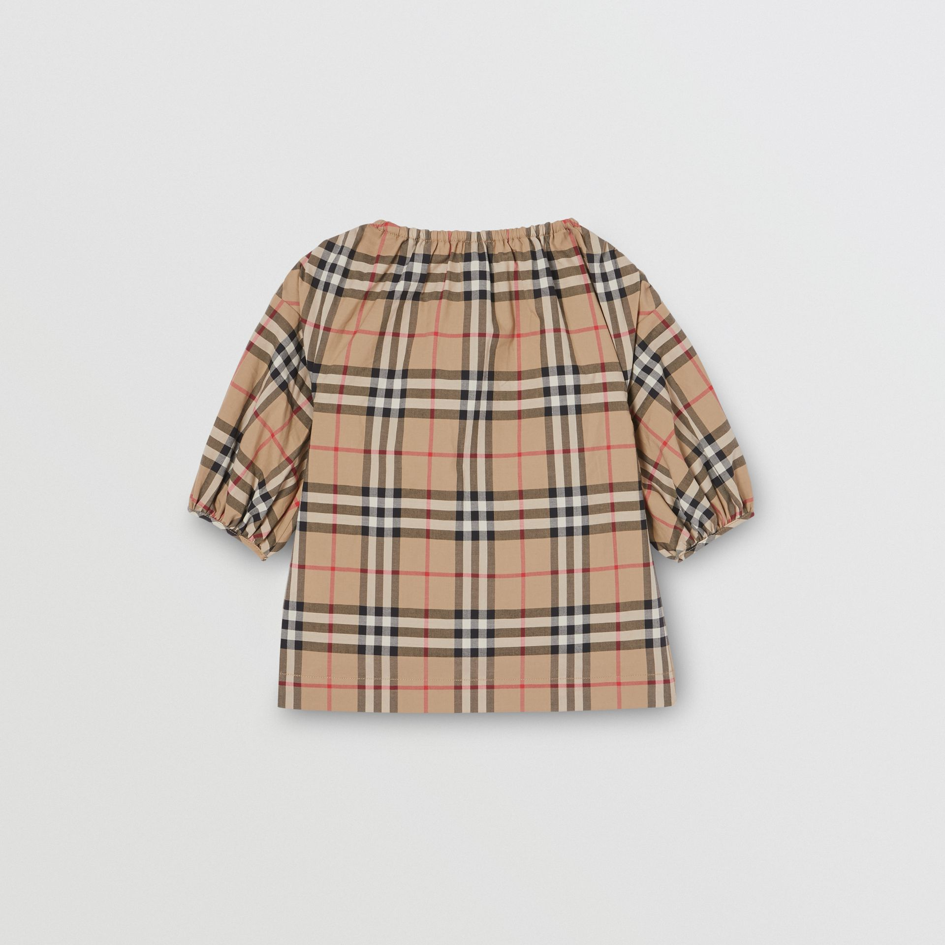 Gathered Sleeve Vintage Check Cotton Dress in Archive Beige - Children | Burberry Canada - gallery image 3