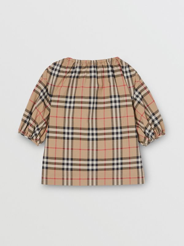 Gathered Sleeve Vintage Check Cotton Dress in Archive Beige - Children | Burberry Canada - cell image 3