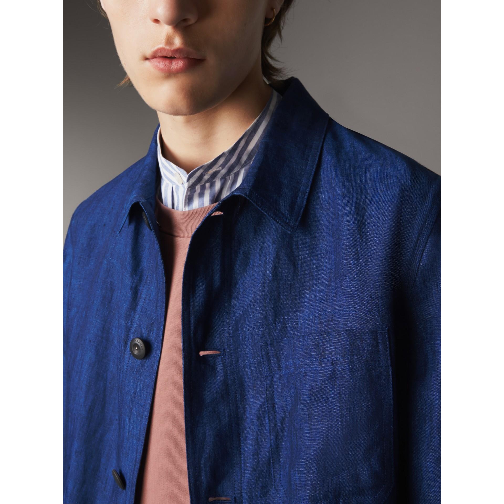 Linen Workwear Jacket in Steel Blue - Men | Burberry - gallery image 2