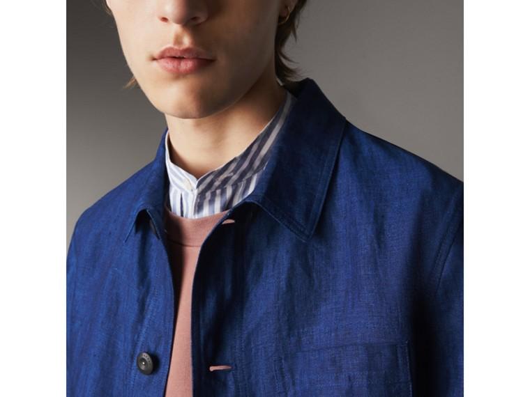Linen Workwear Jacket in Steel Blue - Men | Burberry - cell image 1