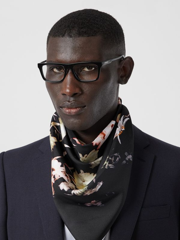 Floral Print Silk Square Scarf in Multicolour | Burberry - cell image 3