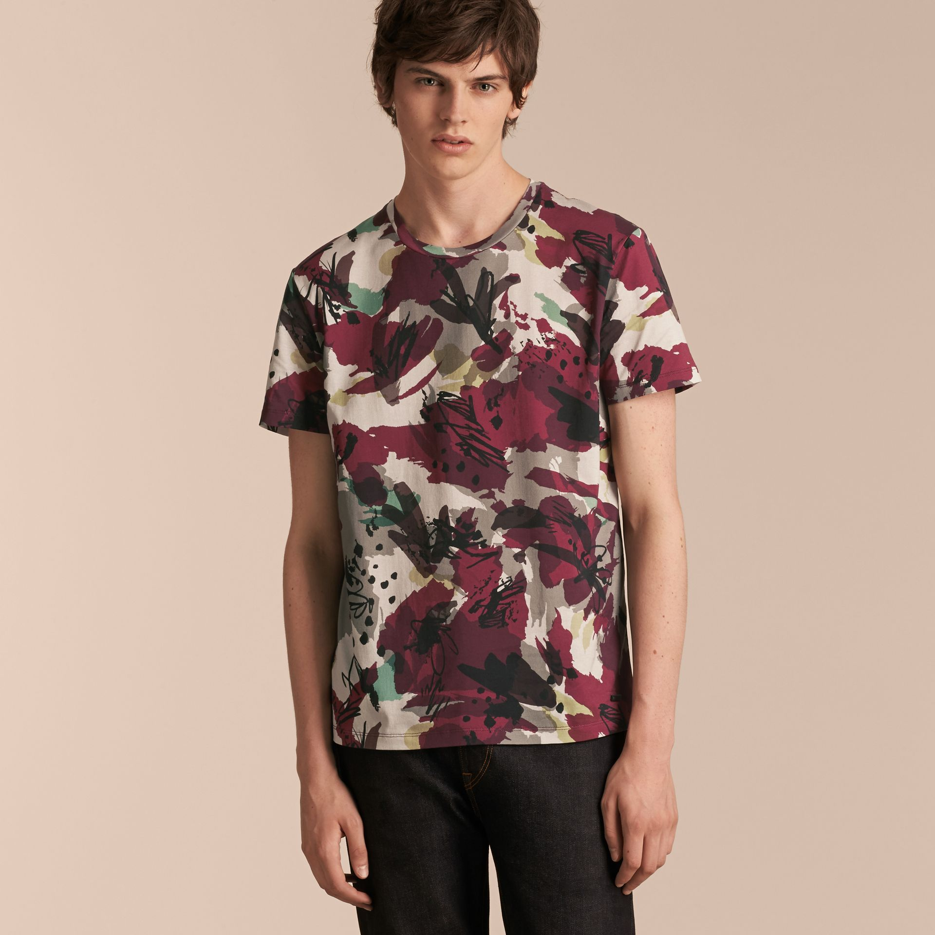 Parade red Abstract Floral Print Cotton T-shirt - gallery image 6