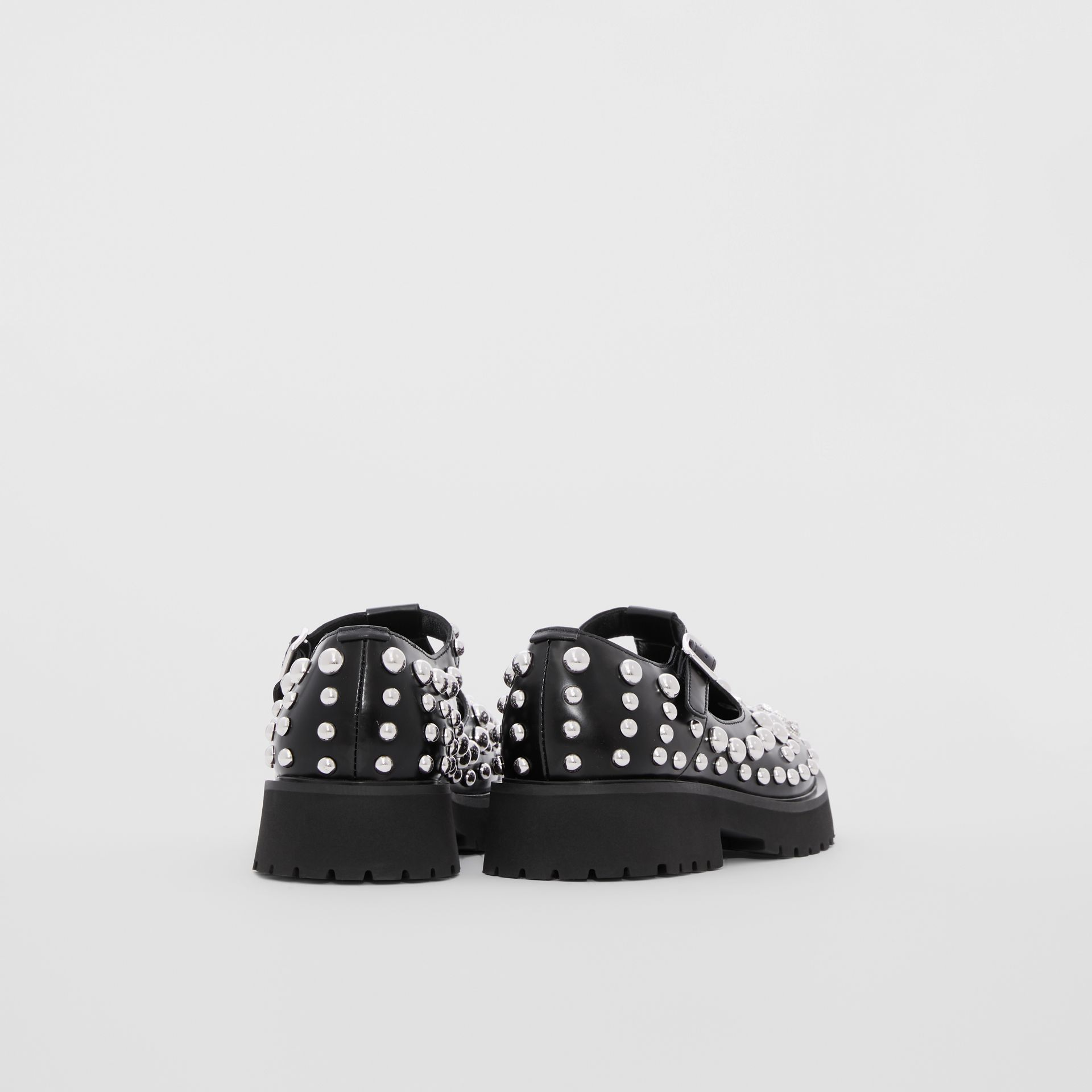 Studded Leather T-bar Shoes in Black - Children | Burberry - gallery image 2