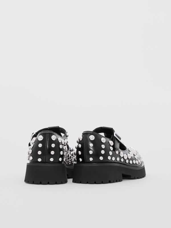 Studded Leather T-bar Shoes in Black - Children | Burberry - cell image 2