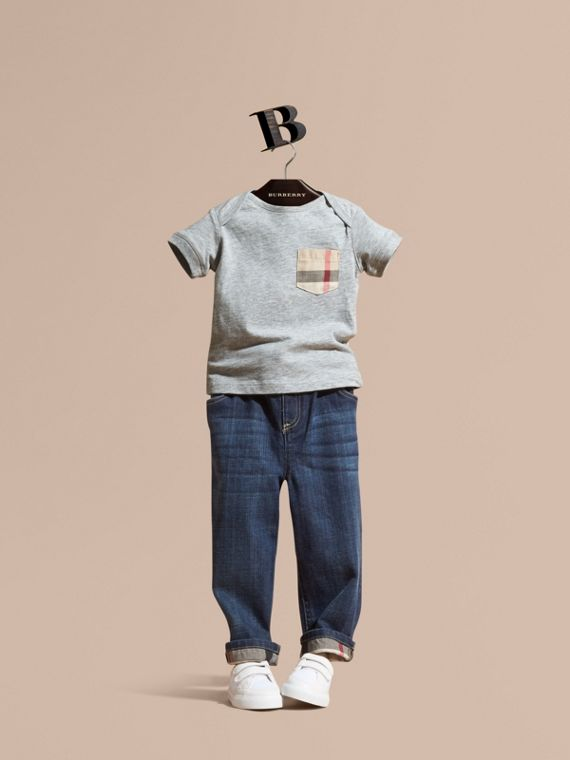 Stretch Jeans with Check Detail | Burberry Singapore