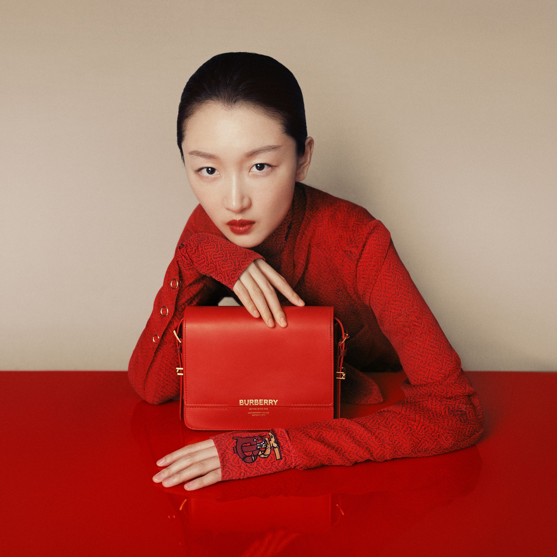 Small Two-tone Leather Grace Bag in Bright Red/burgundy - Women | Burberry United States - gallery image 1