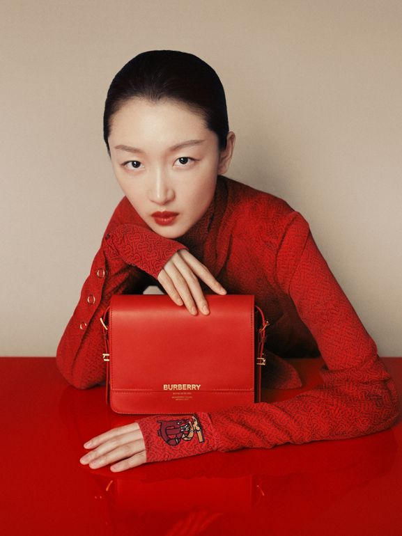 Small Two-tone Leather Grace Bag in Bright Red/burgundy - Women | Burberry United States - cell image 1