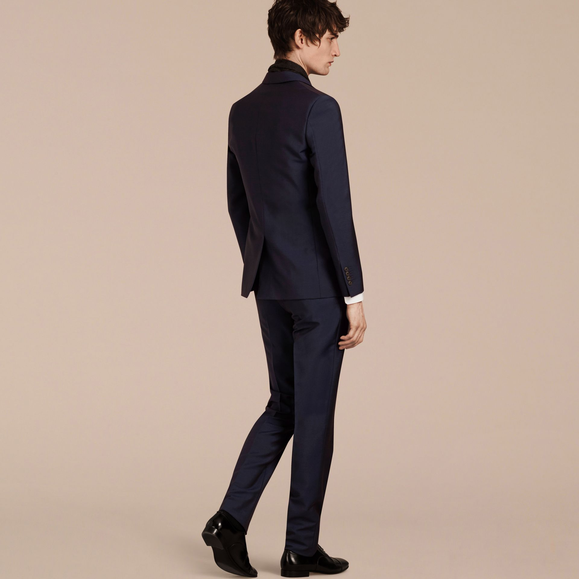 Slim Fit Wool Mohair Part-canvas Suit in Royal Navy - Men | Burberry - gallery image 4