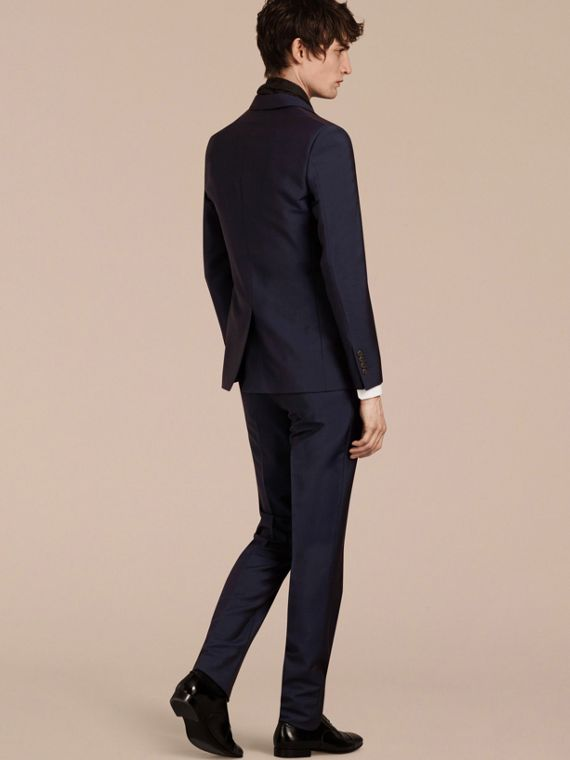 Slim Fit Wool Mohair Part-canvas Suit in Royal Navy - cell image 3
