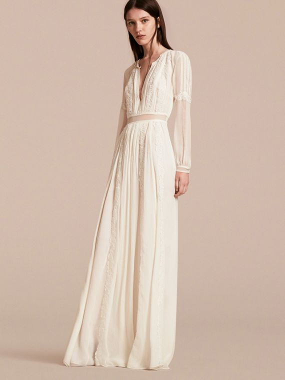 Lace Detail Silk Crepon Floor-length Dress