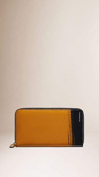Striped Patent Leather Wallet
