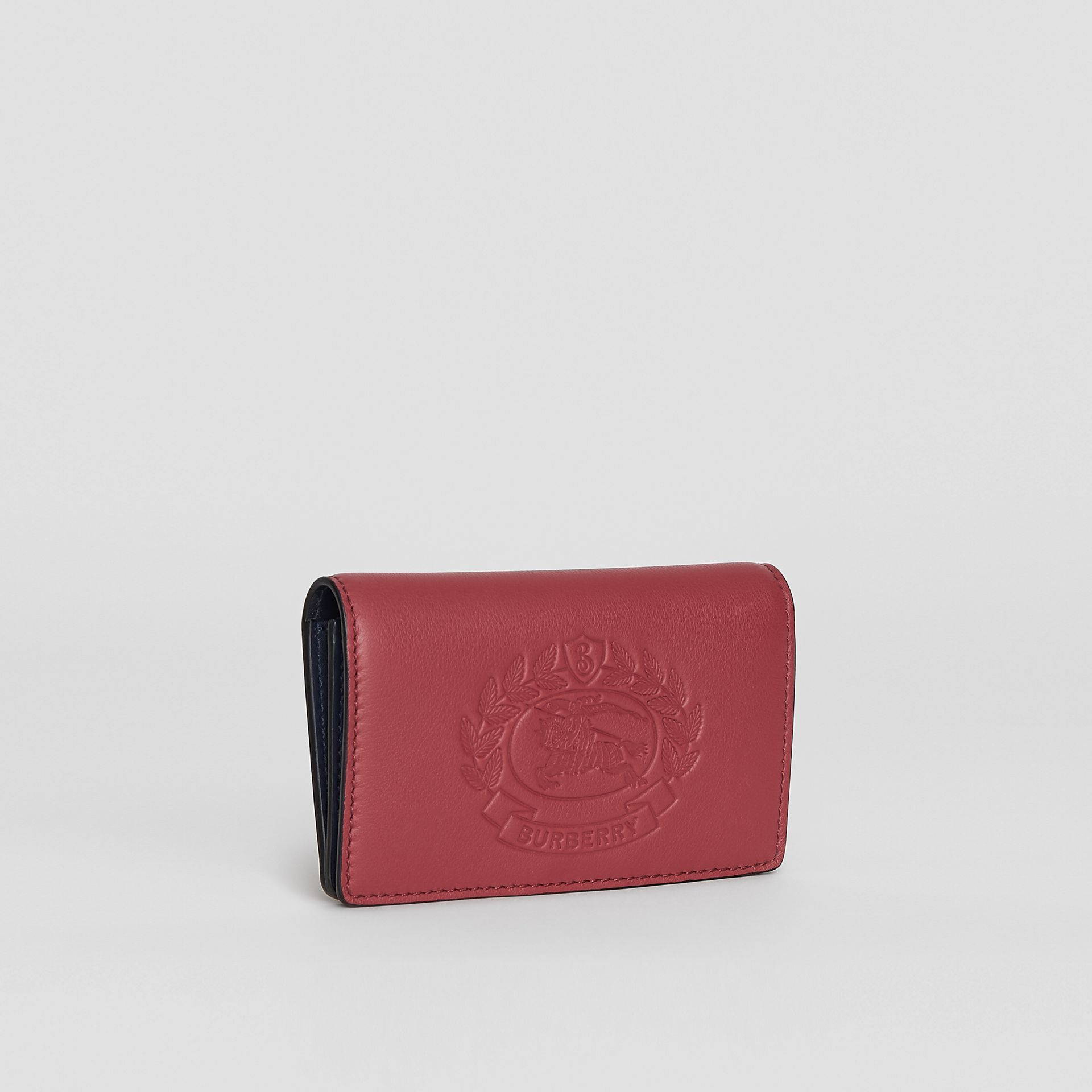 Small Embossed Crest Two-tone Leather Wallet in Crimson - Women | Burberry Australia - gallery image 4