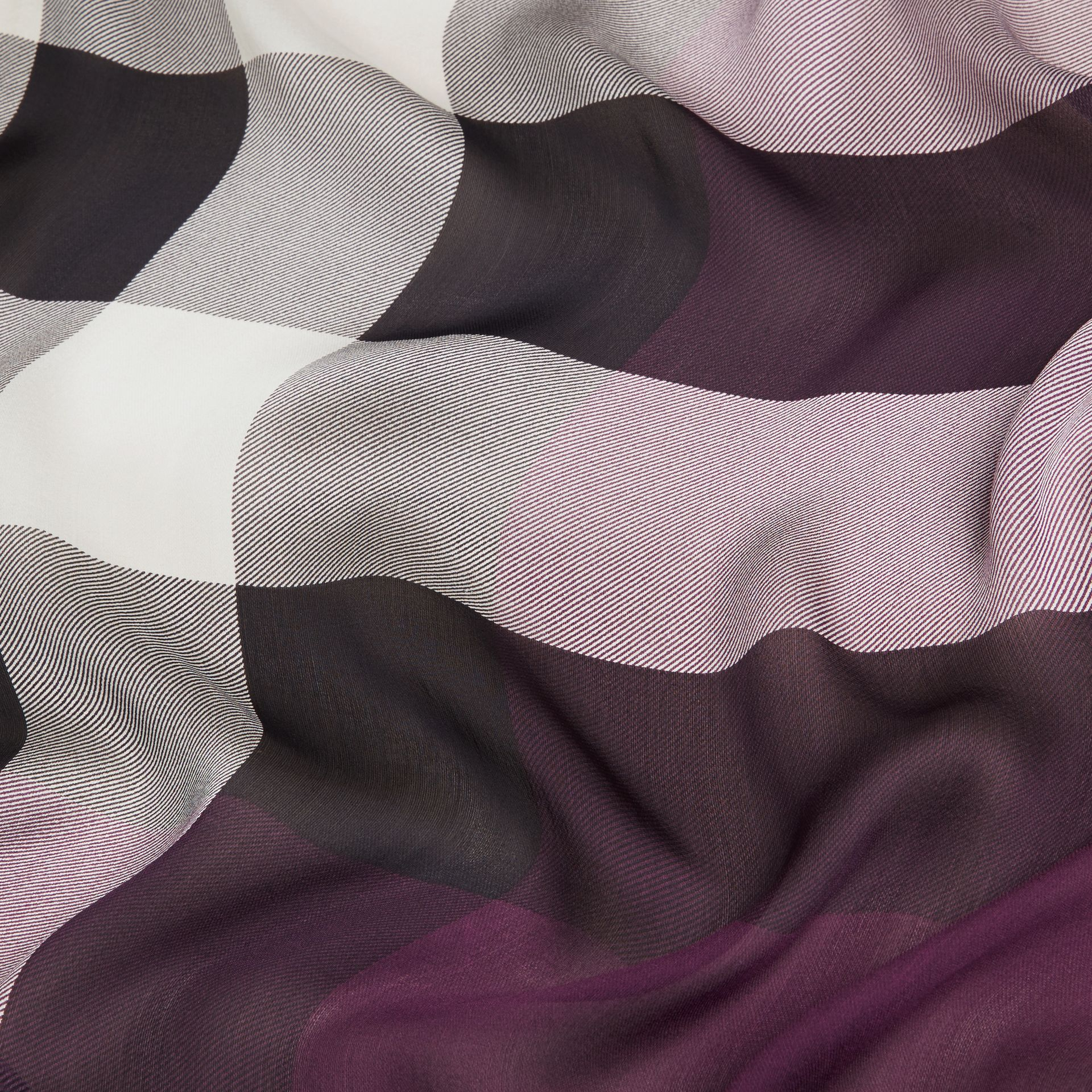 Lightweight Check Silk Scarf in Aubergine - gallery image 2