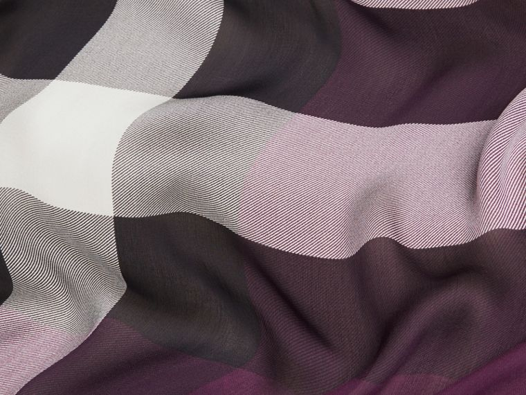Lightweight Check Silk Scarf in Aubergine - cell image 1