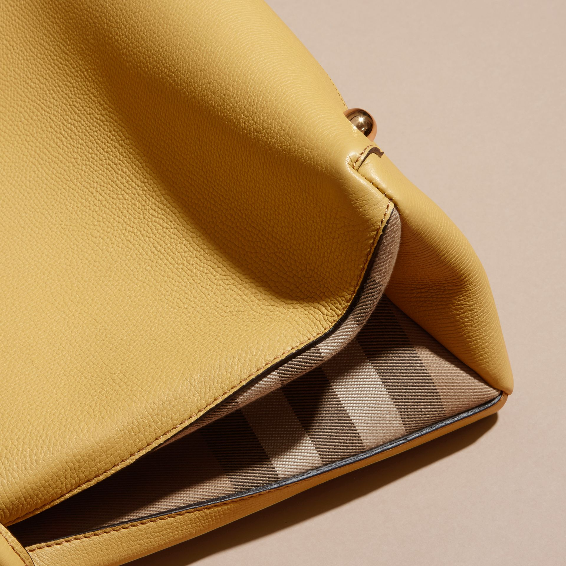 The Medium Banner in Leather and House Check Citrus Yellow - gallery image 6