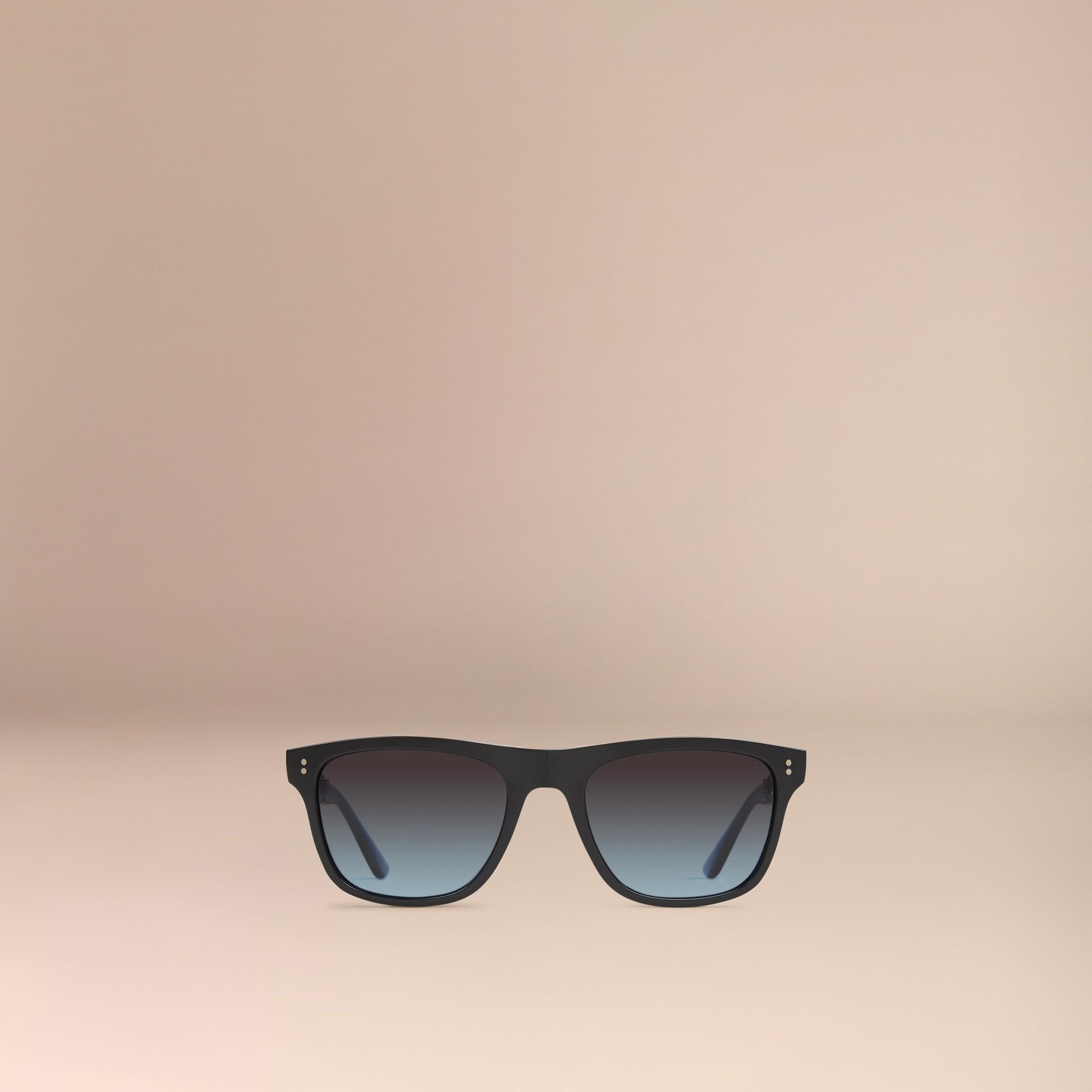Nero Occhiali da sole con montatura rettangolare pieghevole Nero - immagine della galleria 2