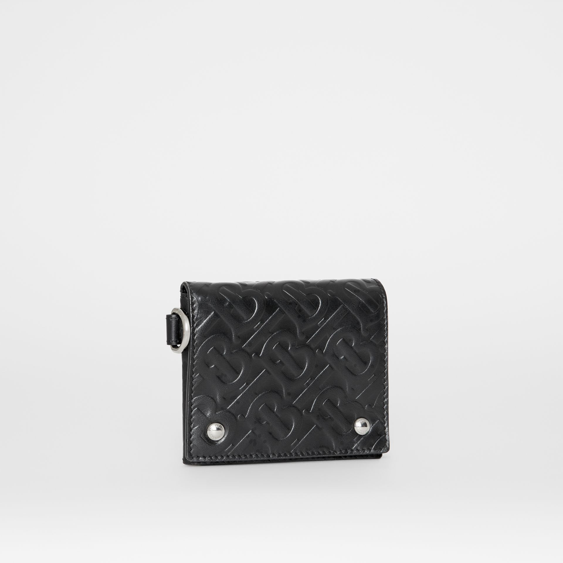Monogram Embossed Leather Trifold Wallet in Black - Men | Burberry Australia - gallery image 3